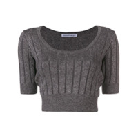 T By Alexander Wang Cropped Ribbed Knit Top - Preto
