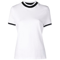 T By Alexander Wang Cropped Round Neck T-Shirt - Branco