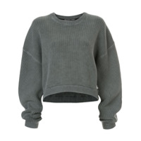 T By Alexander Wang Suéter Cropped Canelado - Cinza