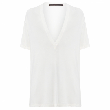 T-Shirt Feminina Decote Super V - Off White