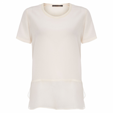 T-Shirt Feminina Mix Tecido - Off White