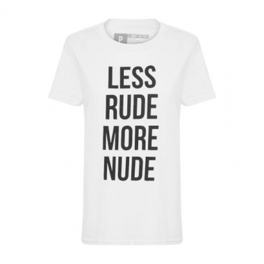 T-Shirt Less Rude More Nude T-Shirt Factory - Branco