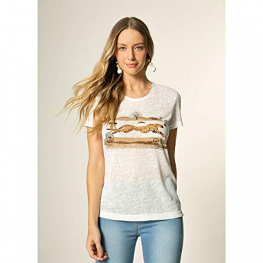 T-Shirt Malha Cheetah Off White - M