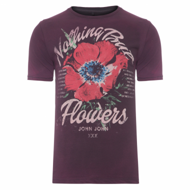 T-Shirt Masculina But Flowers - Roxo