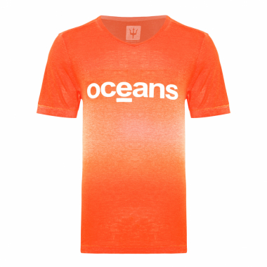T-Shirt Masculina Over Colored Used Oceans - Laranja