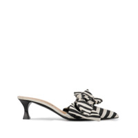 Tabitha Simmons Mule Listrado X Brock Collection Com Detalhe De Laço - Preto