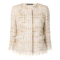 Tagliatore Jaqueta De Tweed Cropped - Branco