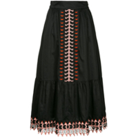 Temperley London Saia Midi Com Bordado - Preto