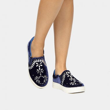 Tênis Di Cristalli Slip On Hot Fix-Feminino