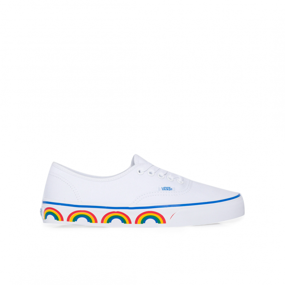 48d57372ad TÊnis Feminino Ua Authentic Rainbow Tape - Branco