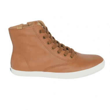 Tênis Keds Champion Hi Zip Wax Leather Tan Kd Feminino-Feminino