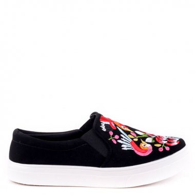 Tenis Slip On Aya Aveludado Bordados Preto 40