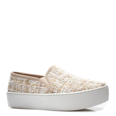 Tênis Slip-On Plataform Tecido Tweed