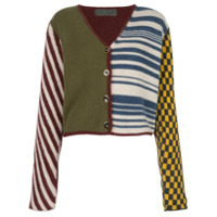 The Elder Statesman Cardigan Color Block Com Padronagem - Estampado