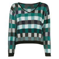 The Elder Statesman Cropped Check Knit Sweater - Verde