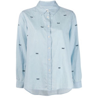 The Great. Bow Embroidered Denim Shirt - Azul