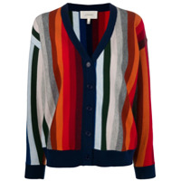 The Great. Striped Open Front Cardigan - Azul