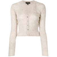 Theory Cropped Ribbed Knit Cardigan - Neutro