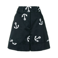 Thom Browne Short Anchor Com Bordado - Azul