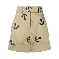 Thom Browne Short Anchor Com Bordado - Neutro