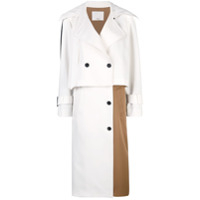 Tibi Trench Coat Color Block - Neutro