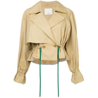 Tibi Trench Coat Cropped - Marrom