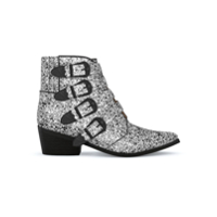 Toga Pulla Ankle Boot De Couro - Black And White Mix