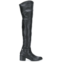 Tommy Hilfiger Bota over the knee de couro - Preto