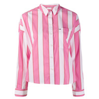 Tommy Jeans Camisa Cropped Listrada - Rosa