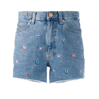 Tommy Jeans Embroidered Denim Shorts - Azul