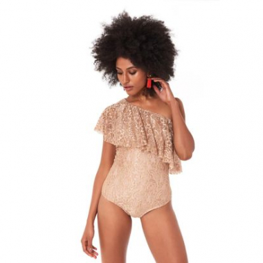 Top Body Ombro So Beige Lace - M