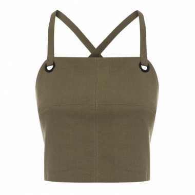 Top Cropped Algodão Shoulder - Verde