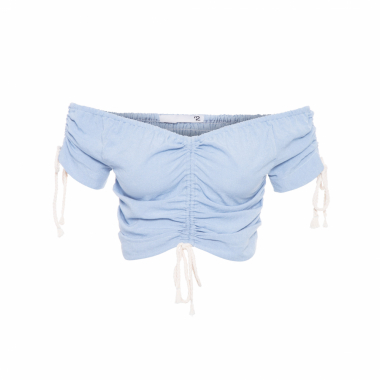 Top Cropped Franzido - Azul