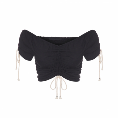 Top Cropped Franzido - Preto