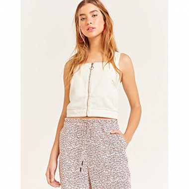 Top Cropped Jeans Ziper-Off White-M