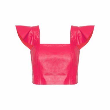 Top Cropped Leather - Vermelho