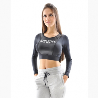 Top Cropped Manga Longa Flexim Atletics Mama Latina-Feminino