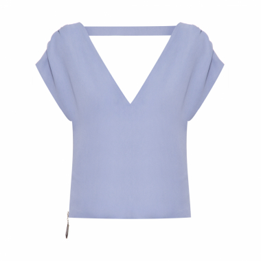 Top Cropped V Crepe - Azul