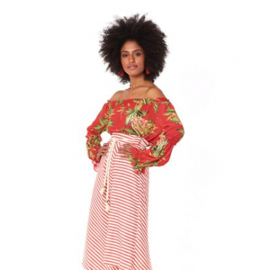 Top Ombro Silky Lines Red Tropical - 36