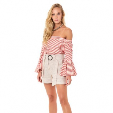 Top Red Stripes Ombro A Ombro - P