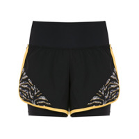 Track & Field Short 'escape' Com Recortes - Preto