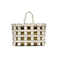 Trademark White And Mustard Frances Cutout Leather Tote Bag - Branco