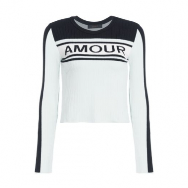 Tricot Cropped Amour Animale - Azul