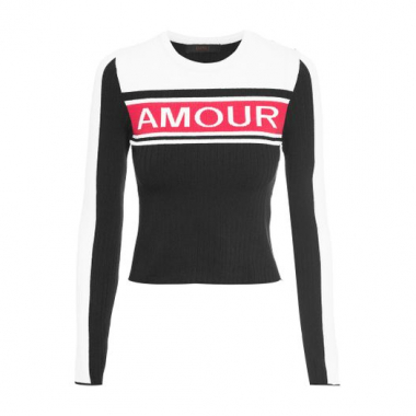 Tricot Cropped Amour Animale - Preto