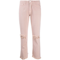 Two Denim Calça Jeans Galia Cropped Destroyed - Rosa