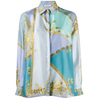 Versace Collection Camisa Com Padronagem Barroca - Azul