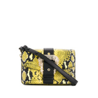 Versace Jeans Couture Buckled Snake-Print Bag - Amarelo
