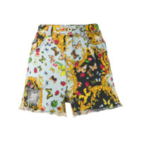 Versace Jeans Couture Butterfly Print Denim Shorts - Azul
