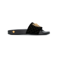 Versace Slide 'medusa Leaves' - Preto
