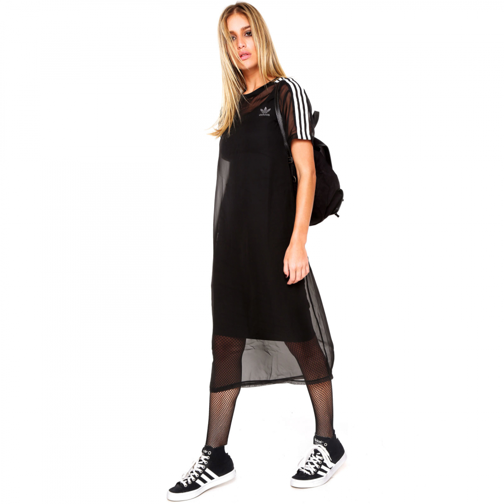a8bb9f20f Vestido adidas Originals 3 Stripes Layer Preto